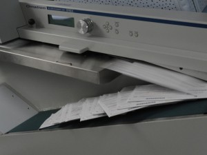 A machine at the Registrar of Voters' office opens envelopes holding mail-in ballots. Photo courtesy of Alameda County Registrar of Voters.