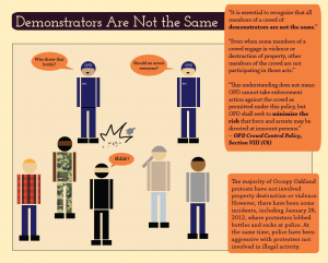 Slide explaining that policy calls for police to recognize that all demonstrators are not the same.