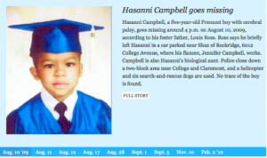Click the link below to view an interactive timeline of Hasanni Campbell's disappearance and the community's search for him.