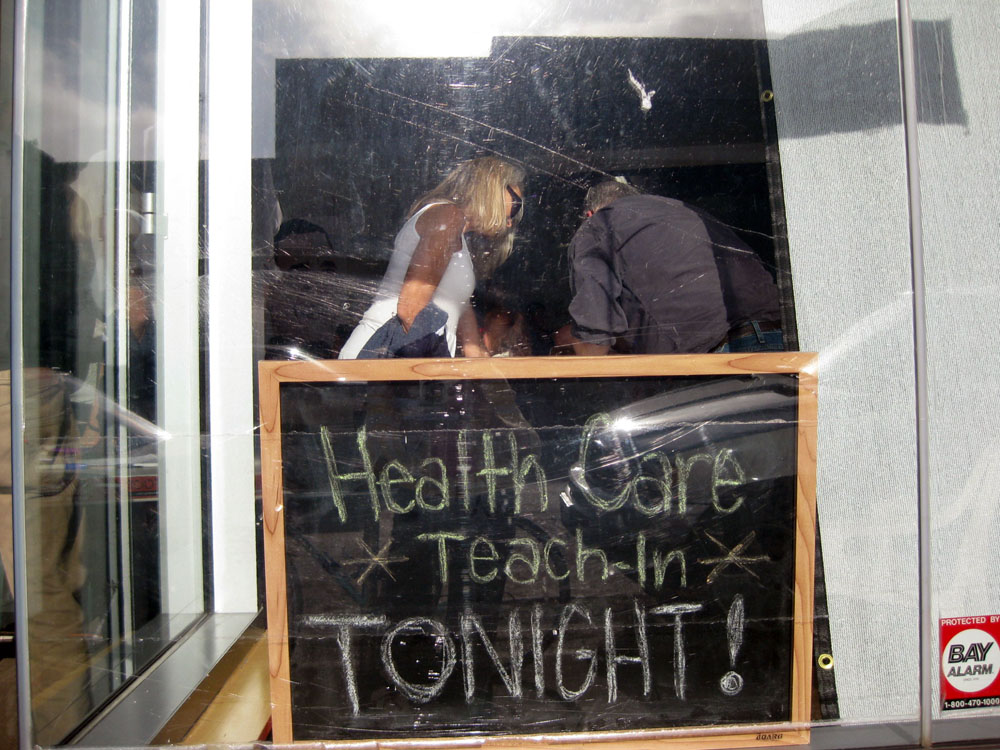 Health Care Teach-in sign