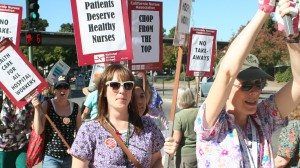 Nurses picket at the Tuesday event