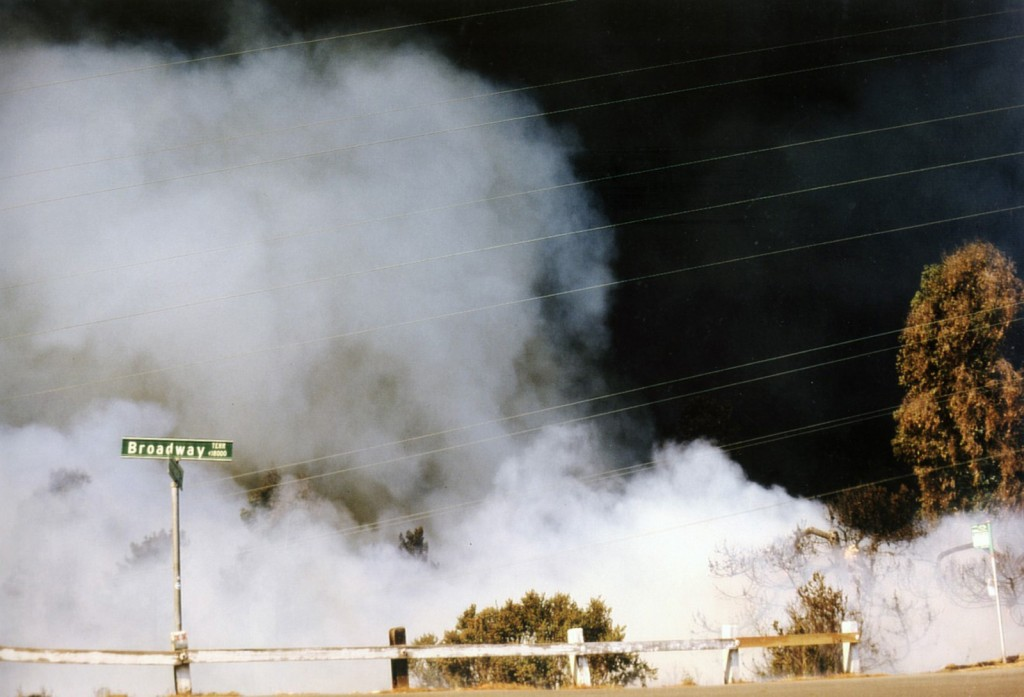 A scene from the 1991 Oakland Hills Fire. Photo courtesy of the Oakland Fire Department.