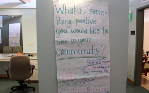 """Students' handwritten responses to questions like """"What is something positive you would like to see in your community?"""" decorate the walls of Frick's health center and help inform staff of their needs."""