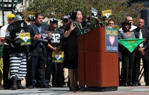 Mayor Quan gives a speech to kick off Oakland Loves Its Sports Teams.