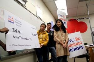 Oakland International High School teacher Thi Bui, at right, was awarded $7,000 by the ING Unsung Heroes program.