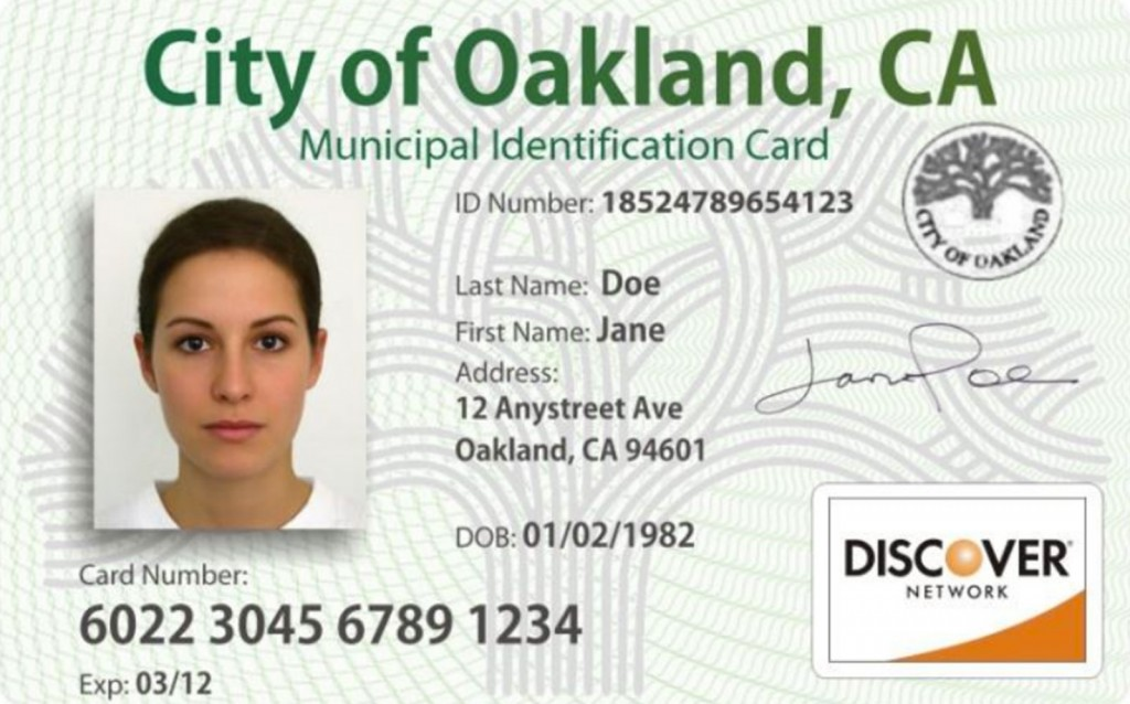 A mock-up of the Oakland Muni ID card.