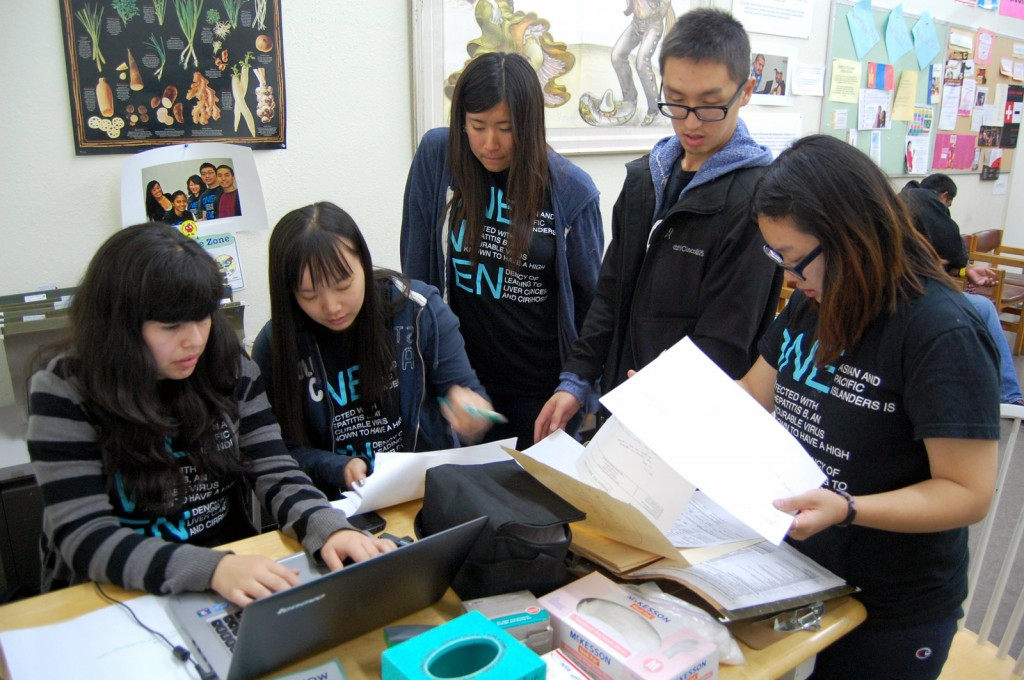 Volunteers from the Hep B Project at the organization's free clinic, located every Wednesday at the Street Level Health Project.