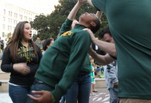"A's fan doing the ""Bernie"" dance."