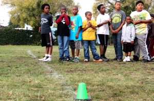 After Oakland's 2013 Punt, Pass and Kick competition, kids did football drills.