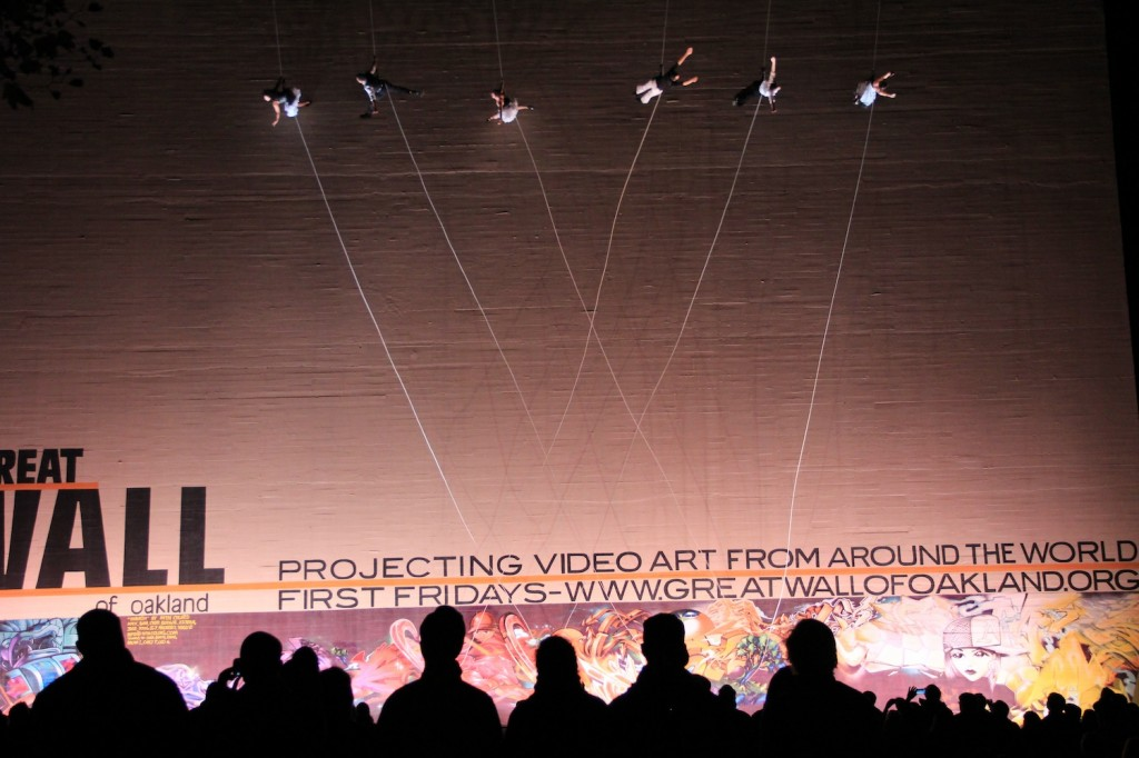 Vertical dancing troupe Bandaloop at the opening ceremony of the International Body Music Festival in Oakland on November 5, 2013.