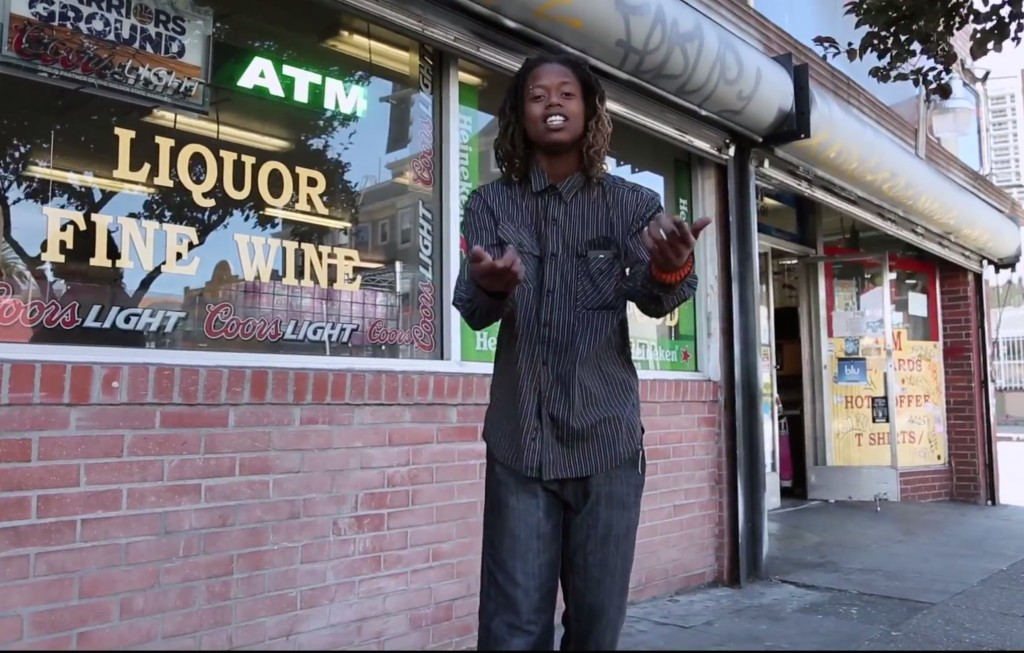Alexis Johnson, aka L.D.D.B., raps about food justice. Photo courtesy of Muse Video.