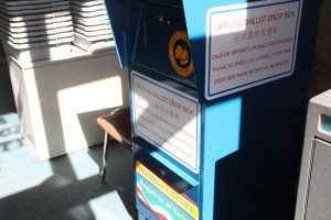 Early voters can drop off vote by mail ballots at an official ballot drop box, like this one at Oakland's René C. Davidson Courthouse.