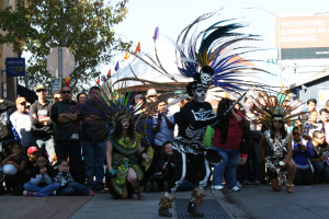 Dancers from the San Jose-based Movimiento Cultural Anahuac perform at the Dia de los Muertos, the Day of the Dead, festival at the Fruitvale Village.