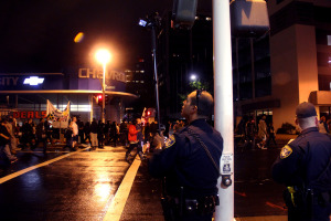 Oakland police also recorded the evening, from different corners, in moving cars, and from behind the phalanxes.