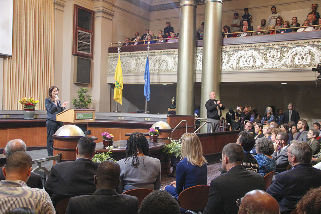 Mayor Schaaf delivering her first State of the City address