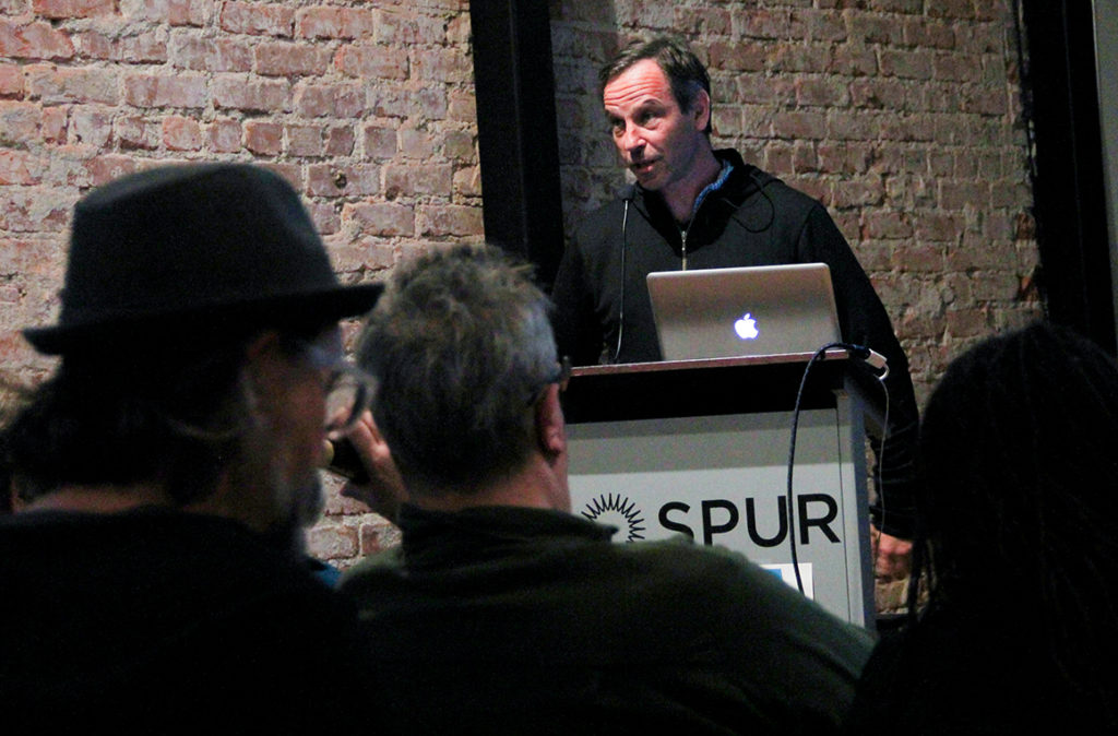 David Keenan of the DIY Community Safety Fund speaks at the Safe Spaces event in Oakland. Photo by Abner Hauge.