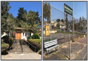 These are a few of the images Shikira Porter displayed on slides and showed to a meeting Tuesday night. Pictured are two Oakland recreation centers: Montclair Recreation Center (left) and San Antonio Park (right). The difference in quality, according to Porter, shows the racial disparity in the city. Photos courtesy of Shikira Porter.