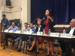 District 4 city council candidates (from left to right) Matt Hummel, Charlie Michelson, Pam Harris, Nayeli Maxson, Sheng Thao, Joseph Tanios discuss racial equity at a panel discussion Thursday night.
