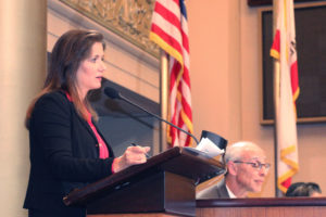 Oakland Mayor Libby Schaaf delivers a 20 minute State of the City address on Tuesday night.