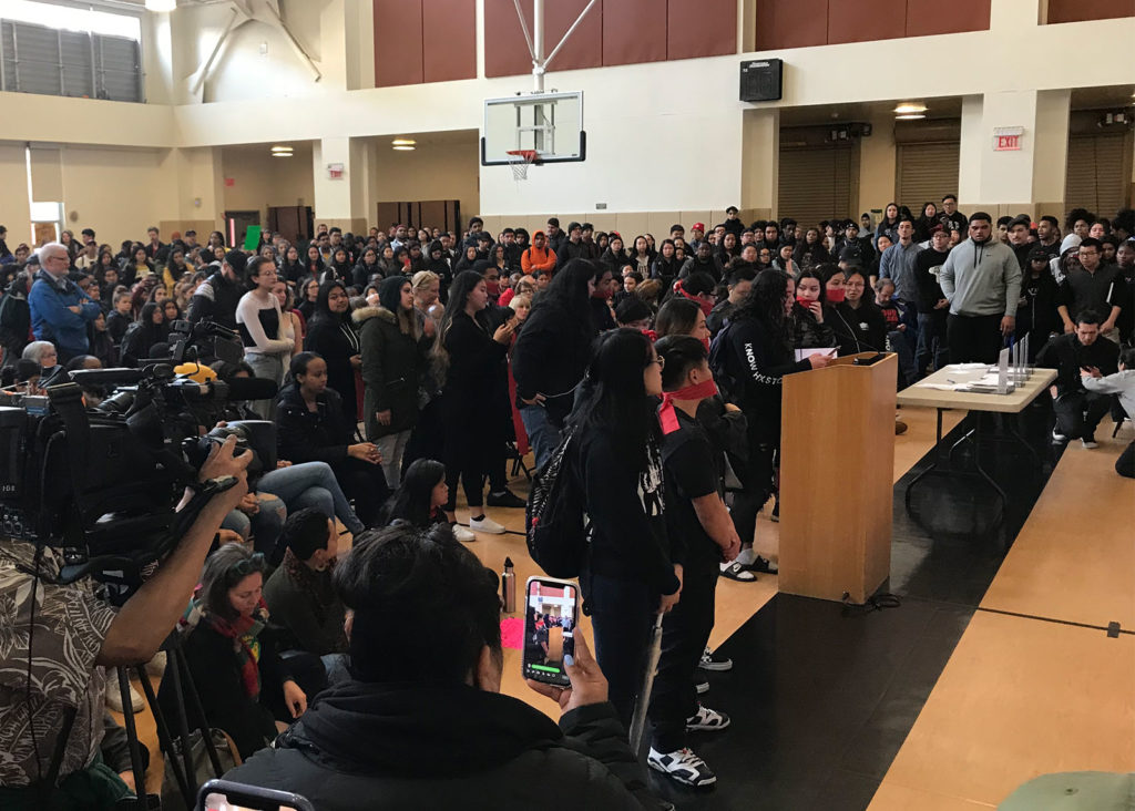 Hundreds of Oakland high school students marched to the school board meeting to demand no cuts to student programs. They told the board how the programs affected their lives.