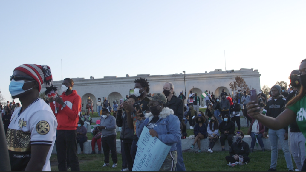Crowd gathers for Lake Merritt protest